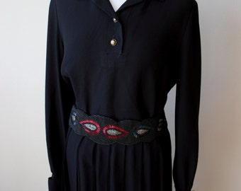 Black Vintage Set/ Top/ Pleated Skirt/ Beautiful Buttons & Cuff Links