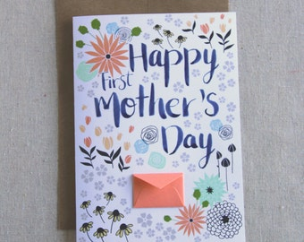 Happy First Mother's Day Card Spring Florals - Tiny Envelopes Card