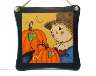 Scarecrow and Pumpkins Sign, Handpainted Wood Wall Hanging, Hand Painted Home Decor Wall Art, Tole Decorative Painting, B1