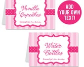 INSTANT DOWNLOAD Pretty in Pink Party Buffet Cards - EDITABLE Printable File