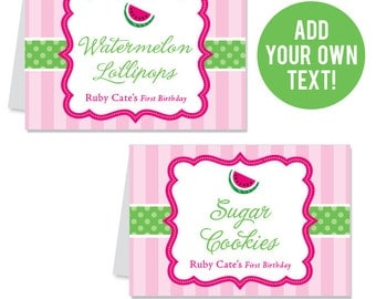 INSTANT DOWNLOAD Watermelon Party Buffet Cards - EDITABLE Printable File