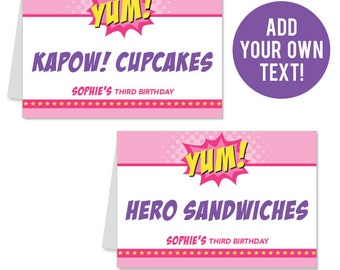 INSTANT DOWNLOAD Pink Superhero Party Buffet Cards - EDITABLE Printable File