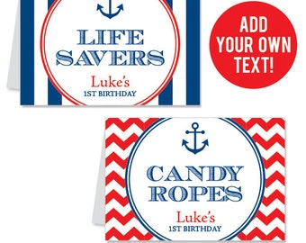 INSTANT DOWNLOAD Nautical Party Buffet Cards - EDITABLE Printable File