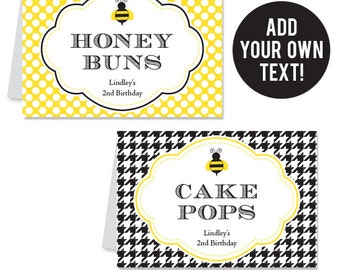 INSTANT DOWNLOAD Bumblebee Party Buffet Cards - Bee Party - EDITABLE Printable File