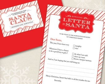 ORIGINAL Official Letter to Santa Kit - Set of 4 cards, red envelopes, and mailing labels