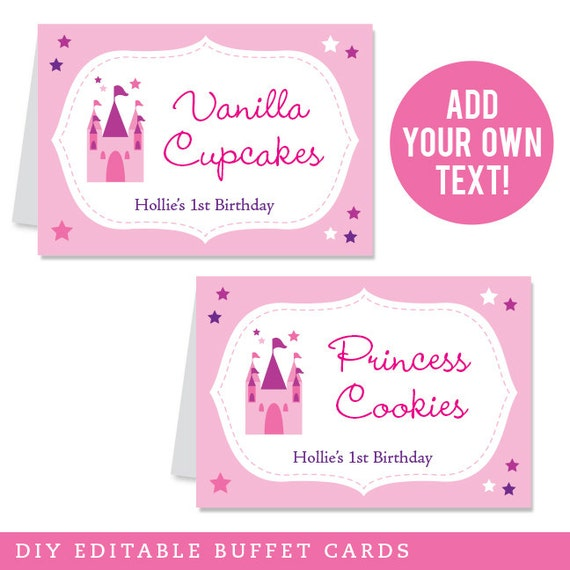 INSTANT DOWNLOAD Fairy Princess Party Buffet Cards - EDITABLE Printable File