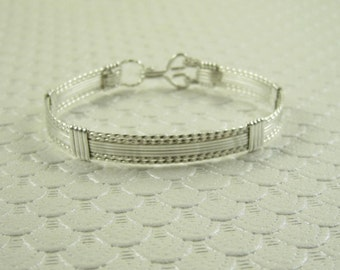 WSB-0167 Handmade .925 Sterling Silver Wire Wrapped Bangle Bracelet
