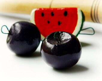 Lil Plum Ceramic Charm - Handmade Fruit / Black Cherry