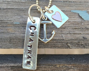 CHATHAM Sterling silver stamped Charm with tiny Silver with Copper heart charm Anchor Ball Chain 20 inch NECKLACE