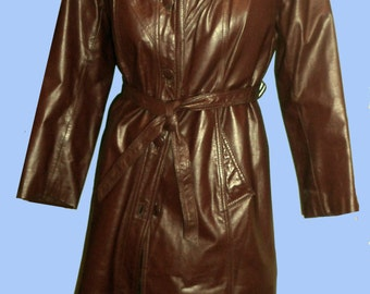 Women's Vintage 1970's Chocolate Leather Belted Trench Coat Sz 10