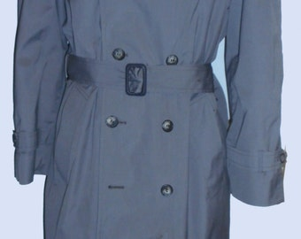 Men's Vintage blue Gray London Fog Trench/Rain Coat, Double Breasted/Belted Sz 40-42