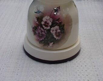 Hummingbirds and Purple Pansies! Electric Ceramic Tart Burner