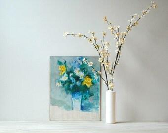 Vintage Original Still Life Flower Vase Painting / Signed Artwork