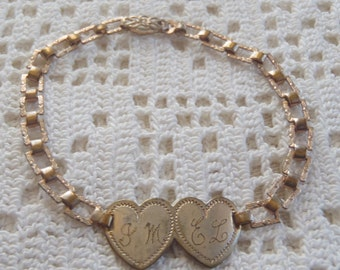 Vintage Sweetheart Bracelet Double Hearts Engraved
