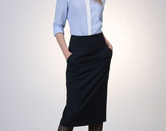 High Waist Pencil Skirt- Navy Wool