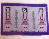 "Vintage Rare Purple Tones NAVAJO YEI Design LATCH Hook Yarn Rug 44"" x 30"" ~ Mid Century Decor ~ Boho Hippie Decor ~ Funky Southwest Decor ~"