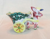 "Vintage Italian Pottery Mid Century Donkey with Cart ~ Majolica Donkey Planter ~ Signed on Bottom ~ 6 3/4"" Ceramic Donkey Cart from Italy ~"