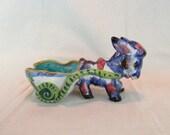 "Vintage Italian Pottery Mid Century Donkey with Cart ~ Majolica Donkey Planter ~ Signed on Bottom ~ 9"" Ceramic Donkey Cart from Italy ~"