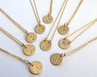 Gold Charm Necklace, Silver Charm Necklace, Peace, Anchor, Arrows, Compass, Lotus, Horseshoe, Wishbone, Lotus, Om, Infinity, Cross, Mantra