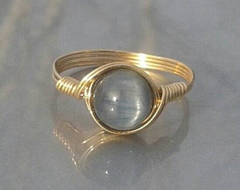 LG Blue Kyanite 14k Yellow Gold Fill Wire Wrapped Ring