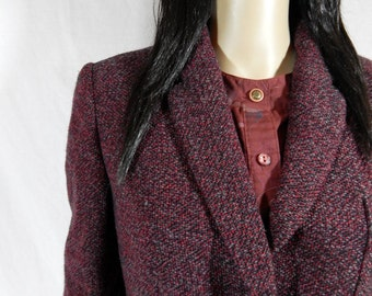 1980's Burgandy Wool TWEED BLAZER by JAEGER Jacket size medium