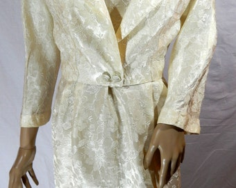 1940's Satin Wedding DRESS & CROP JACKET One of a Kind Hand Taylored Cream Floral Brocade size small