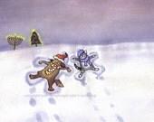 Funny Dog & Cat Greeting Card - Happy Holidays Greeting Card - Pets Animals Christmas Hanukkah Greeting Card 'Snow Angels'