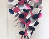 Baby Mobile in Gray, Navy Blue, Hot Pink and White, Custom Mobile, Modern, Customized, Baby Nursery Decor, Baby Room, Baby Shower