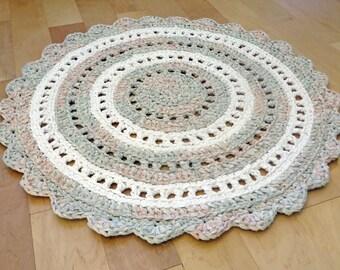 rag rug - neutral nursery gray white round recycled crochet