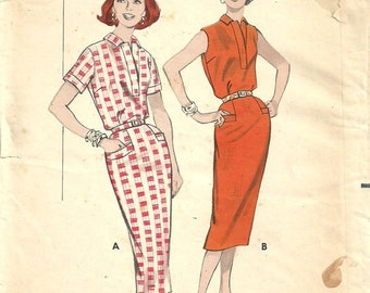Butterick 8588 / Vintage 50s Sewing Pattern / Polo Dress Shirtdress / Size 16 Bust 36