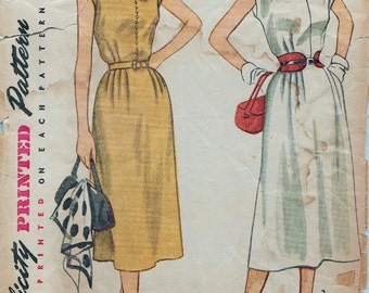 Simplicity 4175 / Vintage 50s Sewing Pattern / Dress / Size 20 Bust 38