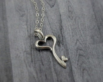 Heart Key Necklace, Sterling Silver Heart Key Charm on a Silver Cable Chain