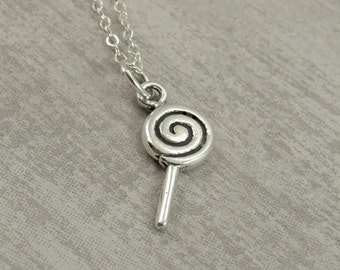 Lollipop Necklace, Sterling Silver Lollipop Charm on a Silver Cable Chain
