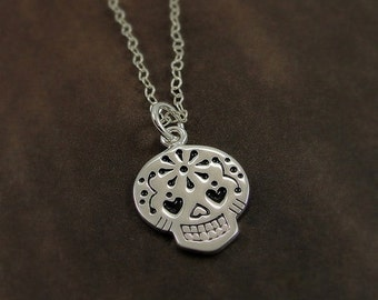 Sugar Skull Necklace, Silver Sugar Skull Charm on a Sterling Silver Cable Chain