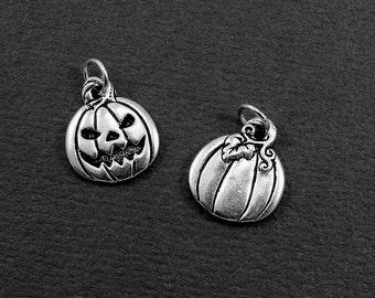 Jack O' Lantern Charm - Silver Jack O' Lantern Charm for Necklace or Bracelet