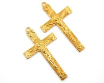 Vintage Catholic Crucifix Lot - Brass Religious Cross - Cross Pendant - Rosary Supplies - Jesus Christ - R82