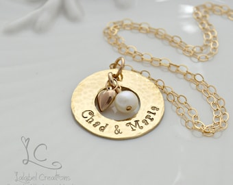 Gold Filled Washer Necklace with Pearl, Personalized Necklace with Name, Hand Stamped 50th Anniversary Gift for Her, Personalized Gift