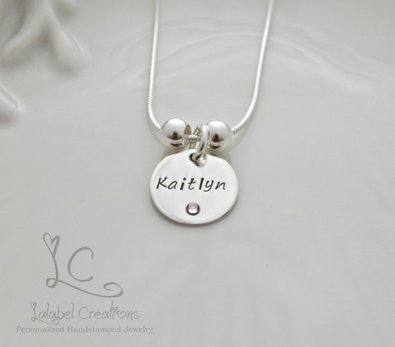 Jewelry mother s necklace birthstone necklace hand stamped necklace