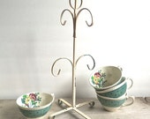 Vintage Tea Cup Stand, Metal Cup Tree Mug Holder Pale Pink