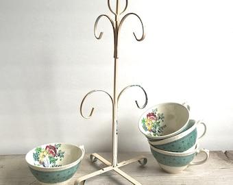 Vintage Tea Cup Stand, Metal Cup Tree Mug Holder Pale Pink
