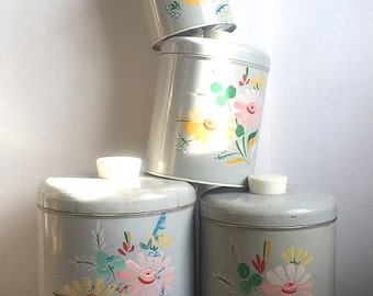 Ransburg Canisters Hand Painted Floral On Gray Metal