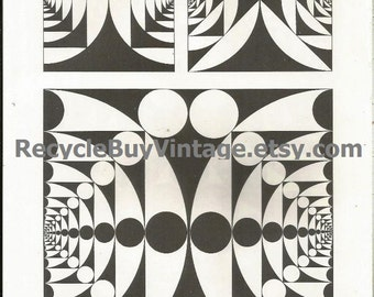 black & white art print. optical illusion. vintage print. book plate. wall art. vintage artwork. circles. op art. monochrome. poster. 47/48