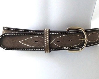 vintage 70's backstock grey leather belt white stitching black gray sz 36 men women nocona texas usa fashion accessory western rustic retro