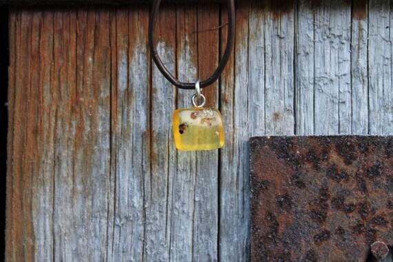 Rustic Amber Pendant Necklace Baltic Charm Jewelry Unisex Yellow Orange Honey Brown Leather