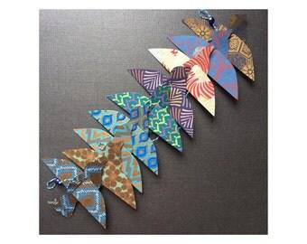 Paper Bird Garland - BLUES GOLDS - Wedding Garland - Party Garland - Bird Garland - Wedding Decor - Home Decor - Party Decor - Bird Art