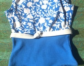 60s Blue and White Flower Power Swim Suit, Baby Size 12 months