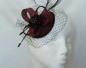 Burgundy Wine and Black Blusher Veil Pheasant Curl Feather Sinamay & Pearl Isadora Wedding Fascinator Mini Hat - Made to Order
