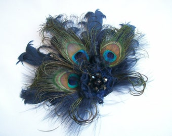 Navy Blue Fascinator - Peacock and French Navy Goose Curl Feather & Crystal Vintage Burlesque Style Mini Fascinator Hair Clip- Made to Order