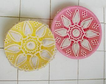 Vintage Crochet Round Cushion Ecru Shabby Chic Pineapple Crochet Dollie