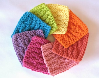 Face Scrubbies, Cotton Facial Scrubbies, Facial Cleansing Pads, Makeup Remover Pads, set of 10 bright colors